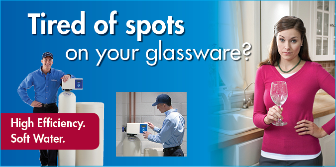 Tired of Spots on Your Glassware? High efficiency. Soft water.